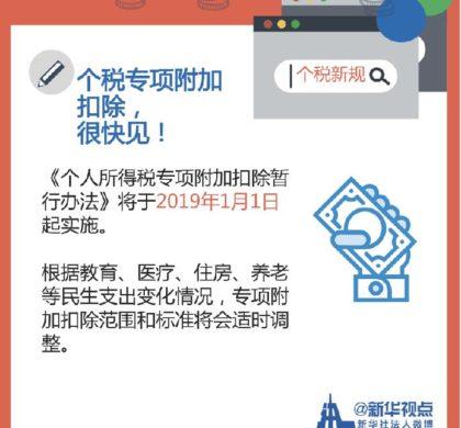 2019年1月个税新政等中国一批新规施行