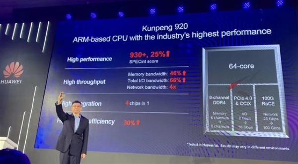华为发布7纳米鲲鹏920芯片,能效比优于业界30%