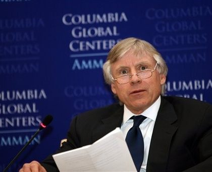 Columbia University President Lee C. Bollinger, delivers a speech during the opening ceremoney of the  Columbia University Global Center in Amman, Jordan, Sunday, March, 22, 2009. This center is among the first of what the university plans as a network of centers around the world to promote and facilitate international collaborations, new research projects, academic programming and study abroad, enhancing Columbia's historical commitment to global scholarship. (AP Photo/Nader Daoud)
