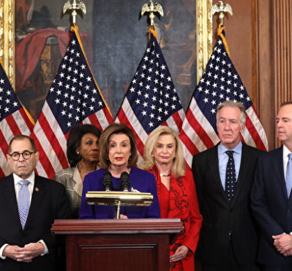 WASHINGTON, DC - DECEMBER 10:  Speaker of the House Rep. Nancy Pelosi (D-CA) (C) speaks as (L-R) Chairman of House Judiciary Committee Rep. Jerry Nadler (D-NY), Chairwoman of House Financial Services Committee Rep. Maxine Waters (D-CA), Chairwoman of House Oversight and Reform Committee Rep. Carolyn Maloney (D-NY) and Chairman of House Ways and Means Committee Rep. Richard Neal (D-MA) listen during a news conference at the U.S. Capitol December 10, 2019 in Washington, DC. Chairman Nadler announced that the Judiciary Committee is introducing two articles on abuse of power and obstruction of Congress for the next steps in the House impeachment inquiry against President Donald Trump. (Photo by Alex Wong/Getty Images)