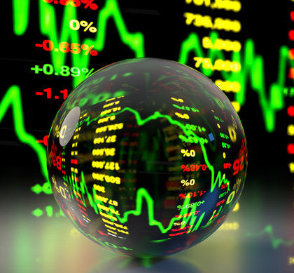 3D rendering crystal ball refracting stock market price chart background.