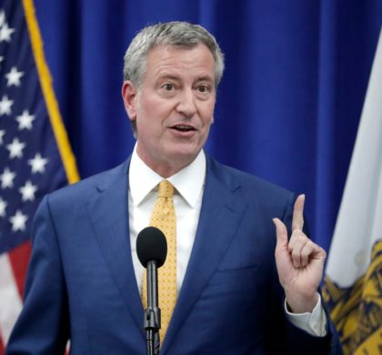 New York City Mayor Bill De Blasio speaks during a news conference announcing a proposed ordinance to provide low income residents with access to free legal representation in landlord-tenant disputes, Tuesday, May 1, 2018, in Newark, N.J. (AP Photo/Julio Cortez)