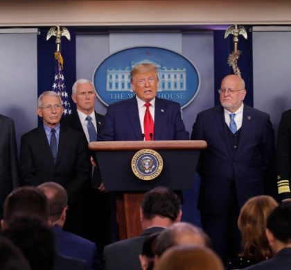 President Donald Trump speaks about the coronavirus in the press briefing room at the White House, Saturday, Feb. 29, 2020, in Washington as Health and Human Services Secretary Alex Azar, National Institute for Allergy and Infectious Diseases Director Dr. Anthony Fauci, Vice President Mike Pence, Robert Redfield, director of the Centers for Disease Control and Prevention and U.S. Surgeon General Dr. Jerome Adams listen. (AP Photo/Carolyn Kaster)