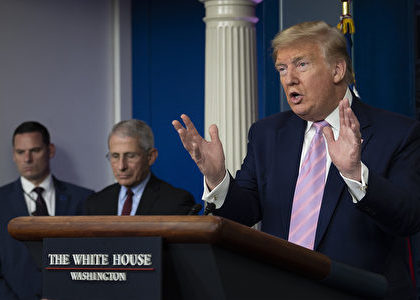 US President Donald Trump speaks during the daily briefing on the novel coronavirus, COVID-19, at the White House on April 4, 2020, in Washington, DC. (Photo by JIM WATSON / AFP)