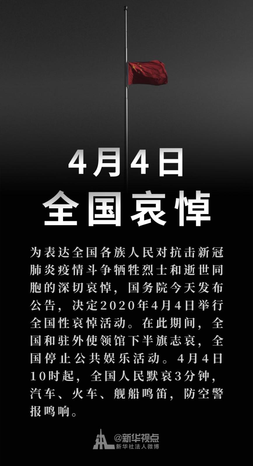 中国国务院公告:2020年4月4日举行全国性哀悼活动