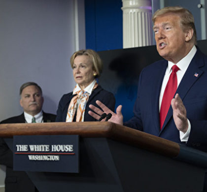 US President Donald Trump speaks during a Coronavirus Task Force press briefing at the White House in Washington, DC, on April 18, 2020. (Photo by JIM WATSON / AFP)