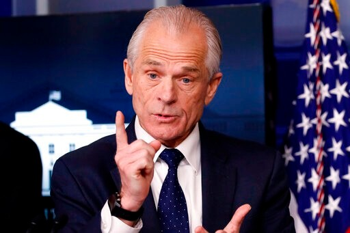 White House trade adviser Peter Navarro, who is now serving as national defense production act policy coordinator, speaks about the coronavirus in the James Brady Press Briefing Room of the White House, Thursday, April 2, 2020, in Washington. (AP Photo/Alex Brandon)