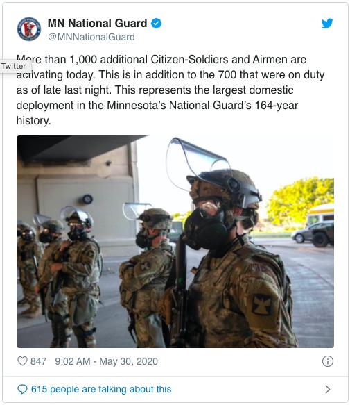 明州史上最大规模部署!国民警卫队将派2500人响应抗议
