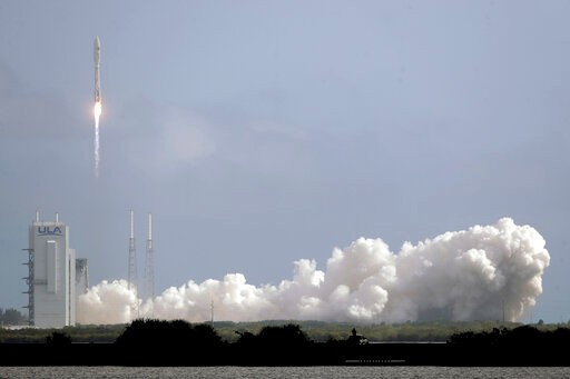 A United Launch Alliance Atlas V rocket lifts off from Launch Complex 41 at the Cape Canaveral Air Force Station, Sunday, May 17, 2020, in Cape Canaveral, Fla. The mission's primary payload is the X-37B spaceplane. (AP Photo/John Raoux)
