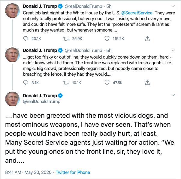川普威胁白宫外抗议者:特勤局可以放狗和使用武器