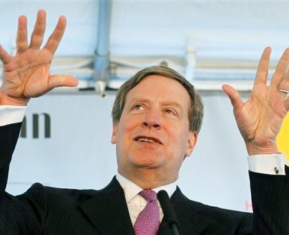 Stanley Druckenmiller, Chairman of Harlem Children's Zone Promise Academy, speaks at the groundbreaking for the school's new campus, Wednesday, April 6, 2011 in New York. (AP Photo/Mark Lennihan)