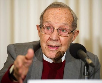 Former Secretary of Defense William Perry speaks after unveiling the Doomsday Clock during The Bulletin of the Atomic Scientists news conference in Washington, Thursday, Jan. 24, 2019.  The Doomsday Clock is set at two minutes to Midnight. (AP Photo/Cliff Owen)