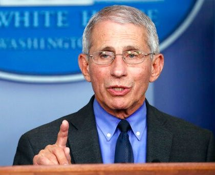 Dr. Anthony Fauci, director of the National Institute of Allergy and Infectious Diseases, speaks about the coronavirus in the James Brady Press Briefing Room of the White House, Tuesday, April 7, 2020, in Washington. (AP Photo/Alex Brandon)