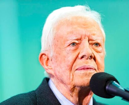 Former President Jimmy Carter takes questions submitted by students during an annual Carter Town Hall held at Emory University Wednesday, Sept. 18, 2019, in Atlanta. (AP Photo/John Amis)