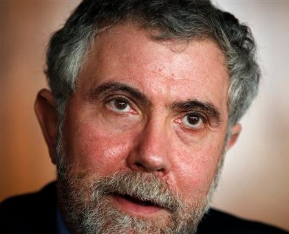 American economy Nobel Prize laureate Paul Krugman talks to journalists during a news conference before being awarded an Honoris Causa degree by Lisbon University, Lisbon Technical University and Lisbon Nova University Monday, Feb. 27, 2012 in Lisbon. (AP Photo/ Francisco Seco)