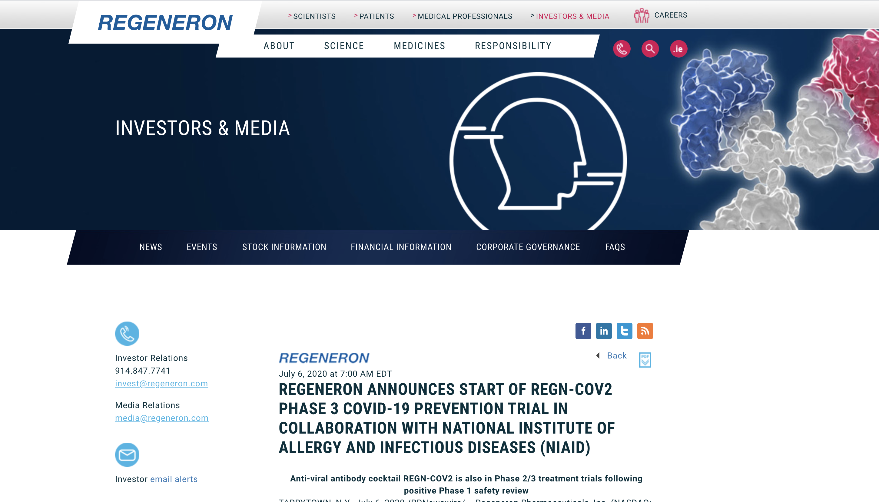 再生元新冠双抗体鸡尾酒疗法获美国联邦4.5亿合约