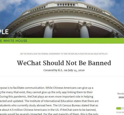 忧川普政府封微信 华人发起联名请愿欲阻止