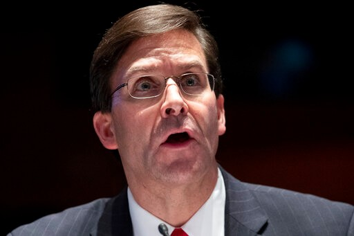 Defense Secretary Mark Esper testifies during a House Armed Services Committee hearing on Thursday, July 9, 2020, on Capitol Hill in Washington. (Michael Reynolds/Pool via AP)