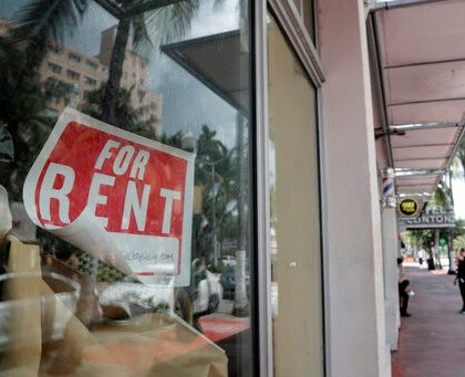 A For Rent sign hangs on a closed shop during the coronavirus pandemic, Monday, July 13, 2020, in Miami Beach, Fla. (AP Photo/Lynne Sladky)