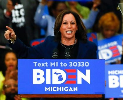 Sen. Kamala Harris, D-Calif., speaks at a campaign rally for Democratic presidential candidate former Vice President Joe Biden at Renaissance High School in Detroit, Monday, March 9, 2020. (AP Photo/Paul Sancya)