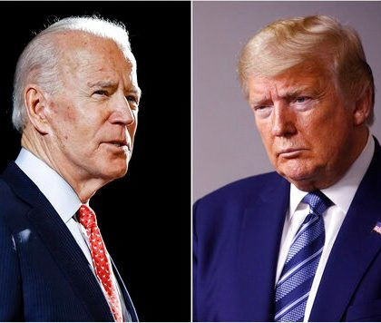"""FILE - In this combination of file photos, former Vice President Joe Biden speaks in Wilmington, Del., on March 12, 2020, left, and President Donald Trump speaks at the White House in Washington on April 5, 2020. Trump has accused his Democratic rival Biden of having connections to the """"radical left"""" and has pilloried his relationship with China, his record on criminal justice, his plans for the pandemic and even his son's business dealings. (AP Photo, File)"""