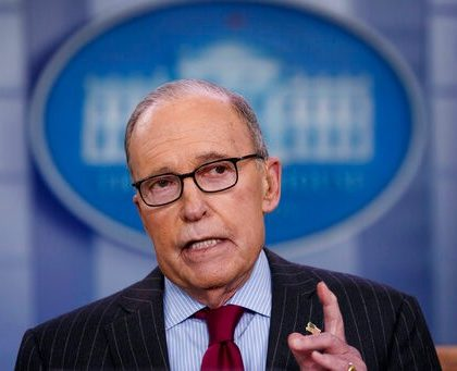 White House chief economic adviser Larry Kudlow speaks during a television interview about the new North American trade agreement with Canada and Mexico, at the White House, Wednesday, Jan. 29, 2020, in Washington. (AP Photo/Alex Brandon)