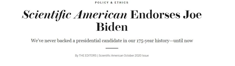 著名科学杂志打破175年传统 首次背书总统候选人拜登