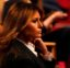 First Lady Melania Trump waits for the first presidential debate Tuesday, Sept. 29, 2020, at Case Western University and Cleveland Clinic, in Cleveland, Ohio. (AP Photo/Julio Cortez)