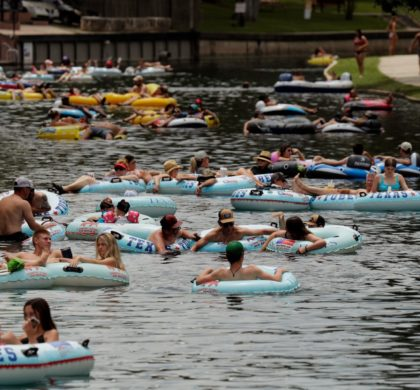 "Tubers float the Comal River despite the recent spike in COVID-19 cases, Thursday, June 25, 2020, in New Braunfels, Texas. Texas Gov. Greg Abbott said Wednesday that the state is facing a ""massive outbreak"" in the coronavirus pandemic and that some new local restrictions may be needed to protect hospital space for new patients. (AP Photo/Eric Gay)"