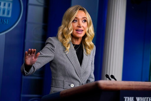 White House press secretary Kayleigh McEnany speaks during a press briefing at the White House, Friday, May 8, 2020, in Washington. (AP Photo/Evan Vucci)