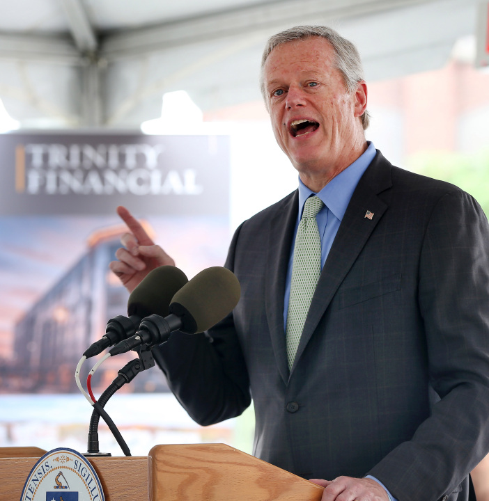 LAWRENCE MA. - JULY 15: Gov. Charlie Baker speaks during the 92021 Rental Rounds announcement on July 15, 2021 in Lawrence, MA. (Staff Photo By Nancy Lane/MediaNews Group/Boston Herald)
